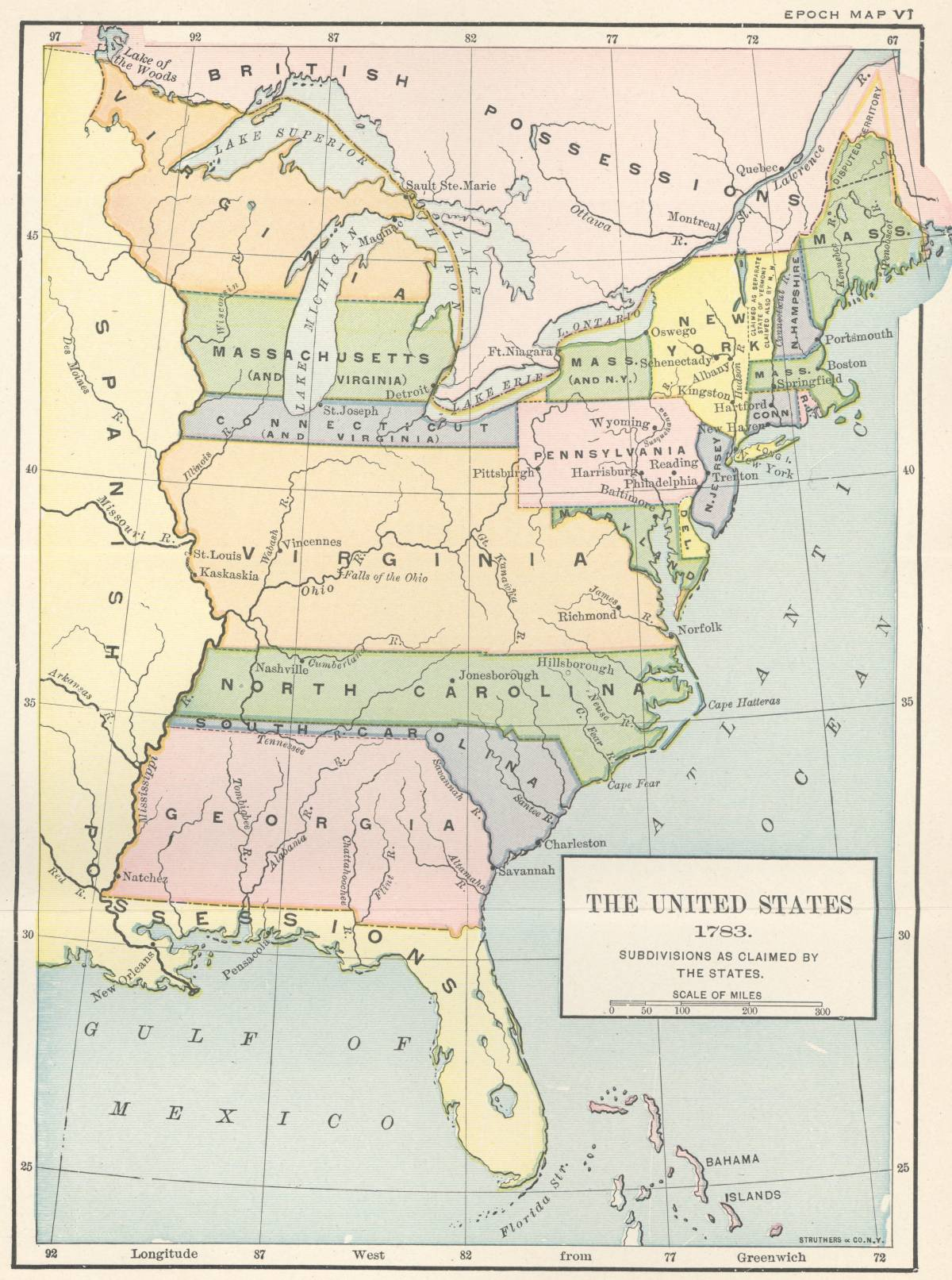 The Treaty Of Peace - Map of us in 1783